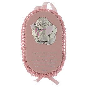 Medalhões e Medalhas para Berço: Medalha para berço cor-de-rosa oval prata e esmalte Anjo com oração ITA e caixa de música
