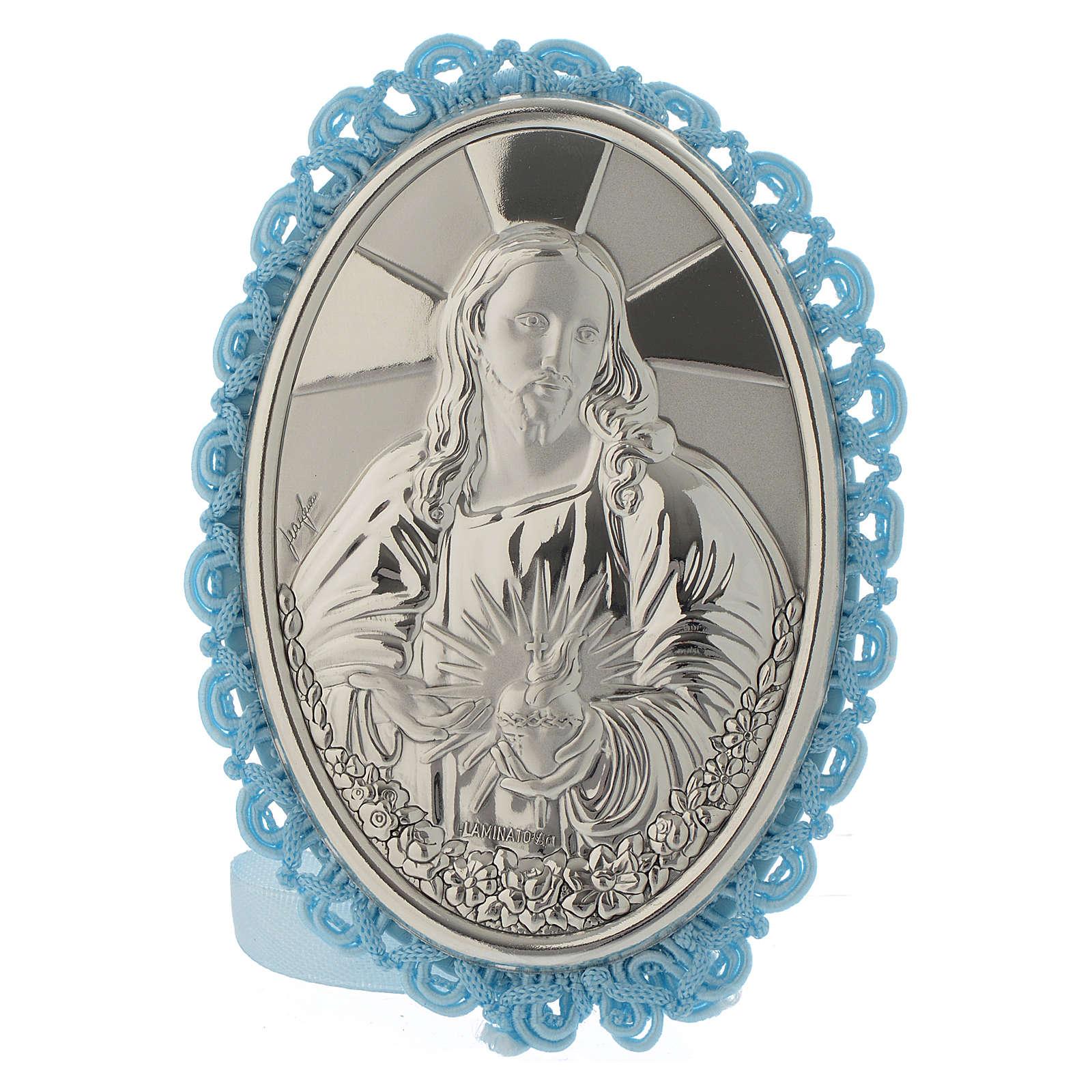 Medaglione Sopraculla Sacro Cuore Azzurro con Carillon 4