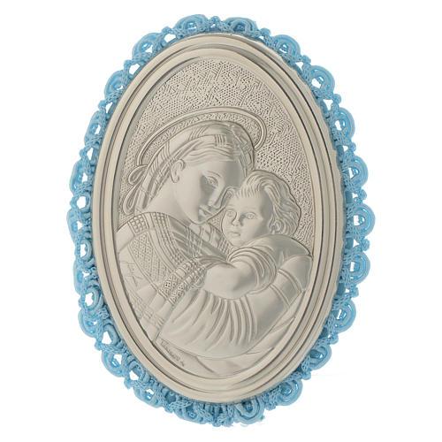 Medaglione Argento Madonna della Seggiola carillon Azzurro 1