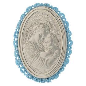 Medalhões e Medalhas para Berço: Medalhão prata Madona da Cadeira caixa de música azul