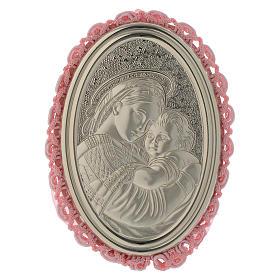 Medalhões e Medalhas para Berço: Medalhão prata Madona da Cadeira caixa de música cor-de-rosa