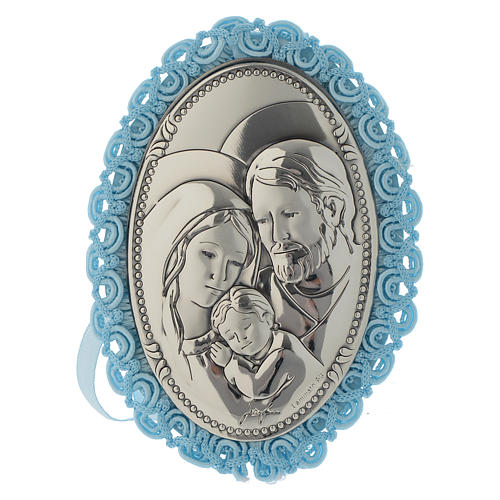 Holy Family medallion crib toy with musical box pale blue 1