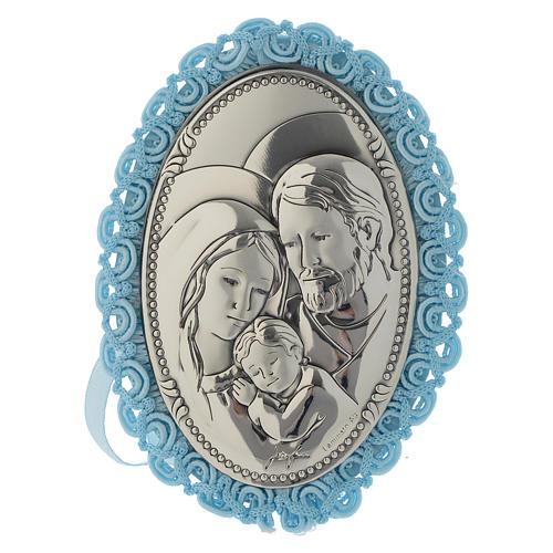 Obrazek do łóżeczka medalion Srebro Św. Rodzina pozytywka błękitny 1