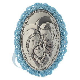 Medalhões e Medalhas para Berço: Medalha para berço prata Sagrada Família caixa de música azul