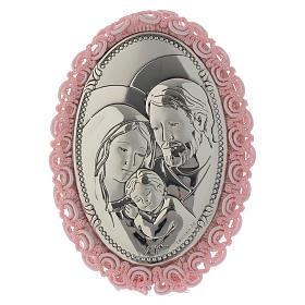 Medalhões e Medalhas para Berço: Medalha para berço prata Sagrada Família caixa de música cor-de-rosa