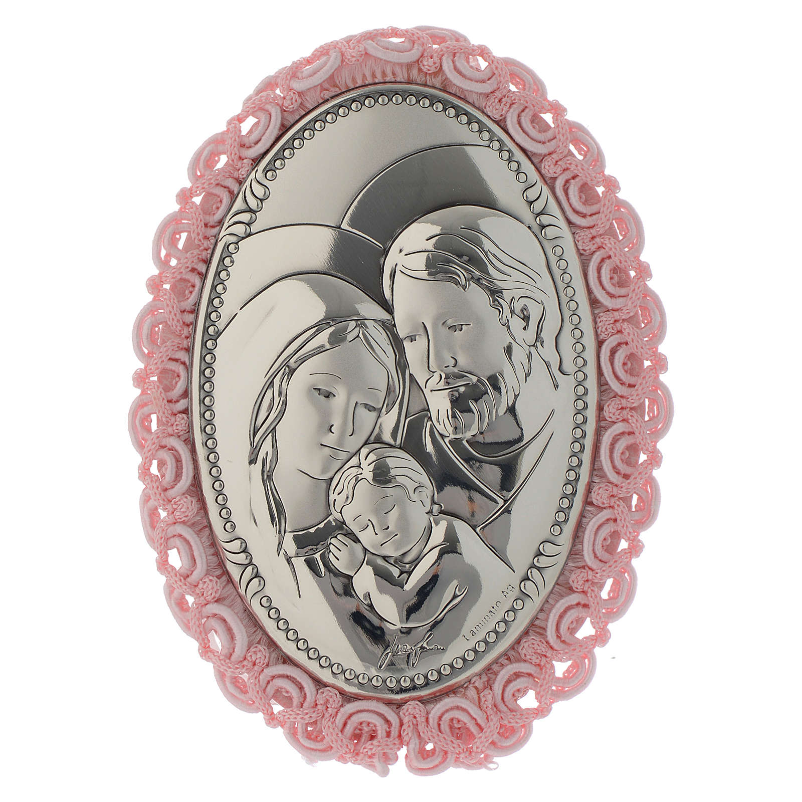 Holy Family cradle decoration in double layer silver with musical box pink colour 4