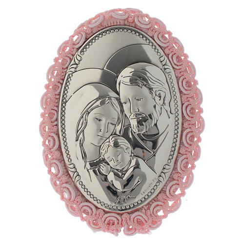 Holy Family cradle decoration in double layer silver with musical box pink colour 1