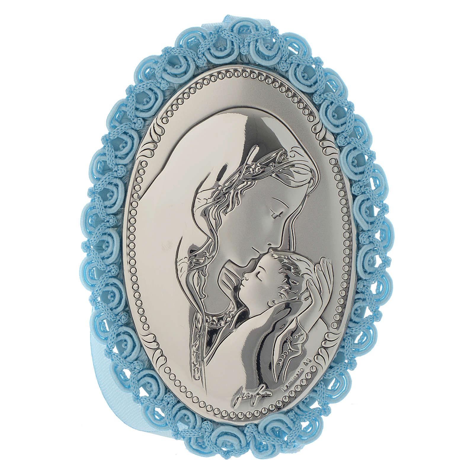 Médaillon lit argent bi-laminé Maternité carillon bleu 4