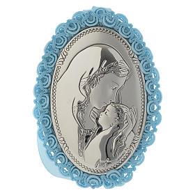 Medalhões e Medalhas para Berço: Medalha para berço prata bilaminada Maternidade caixa de música azul