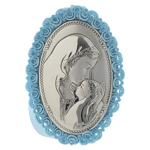 Medalha para berço prata bilaminada Maternidade caixa de música azul 1