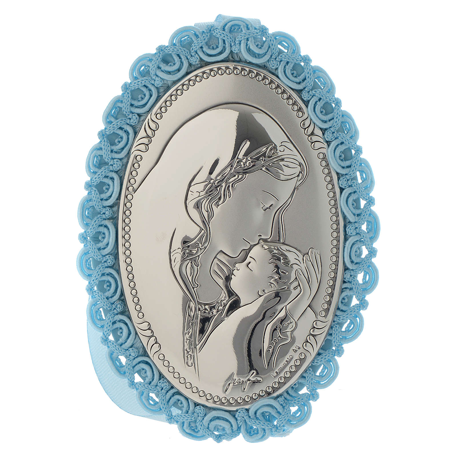 Motherhood cradle decoration in double layer silver with musical box light blue 4