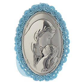 Motherhood cradle decoration in double layer silver with musical box light blue s1