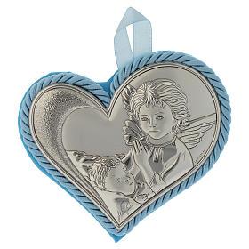 Medalhões e Medalhas para Berço: Medalha berço coração placa prata com Anjo caixa de música azul