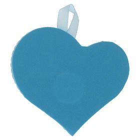 Medalha berço coração placa prata com Anjo caixa de música azul s2