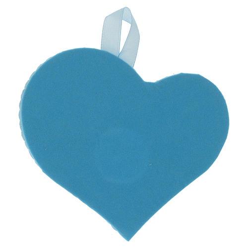 Medalha berço coração placa prata com Anjo caixa de música azul 2