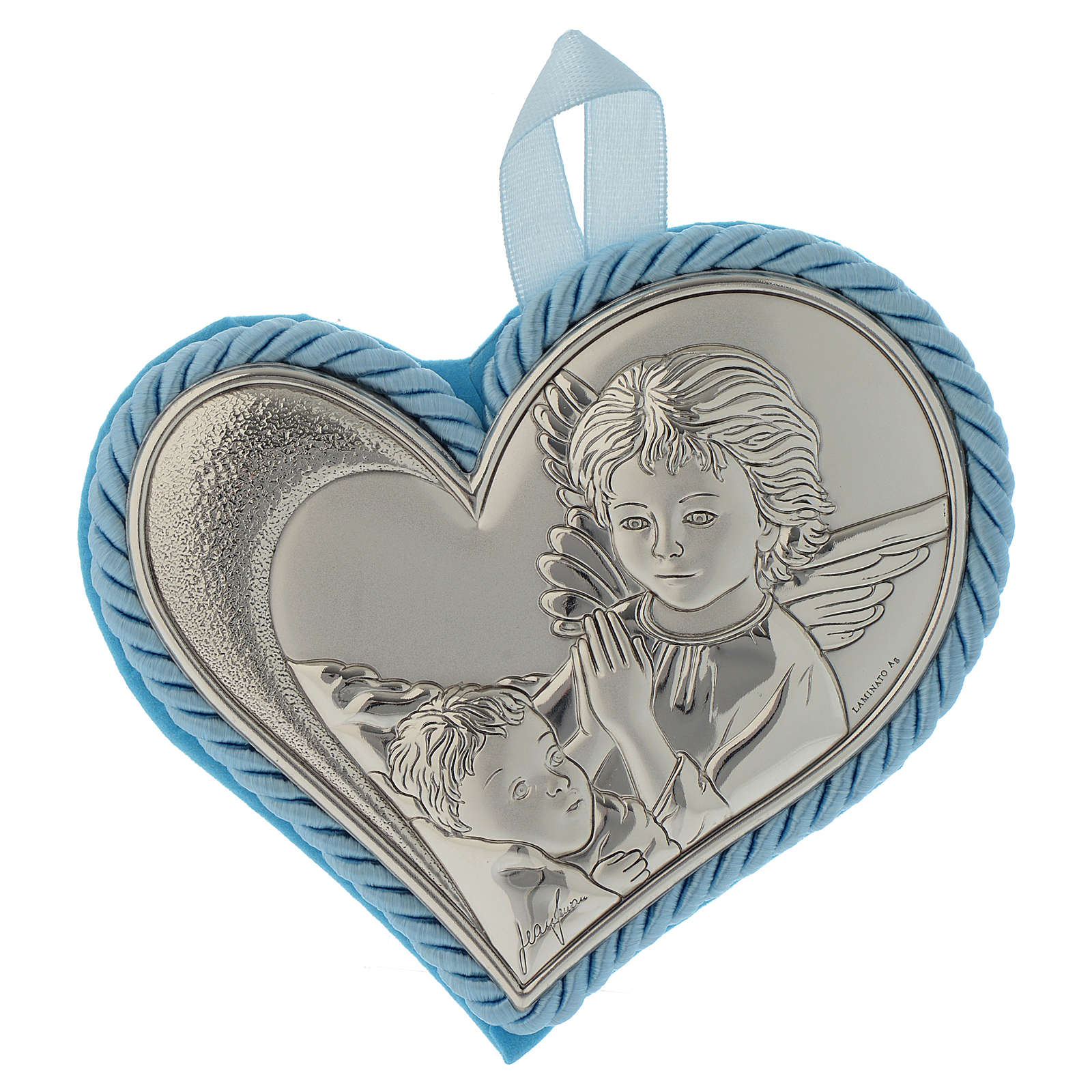 Crib toy with heart and silver plate with angel image and musical box pale blue colour 4