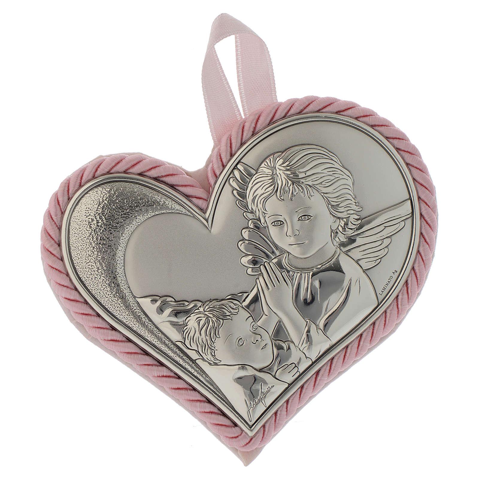 Medalla para cuna corazón placa Plata Ángel de la Guarda Carillón rosa 4