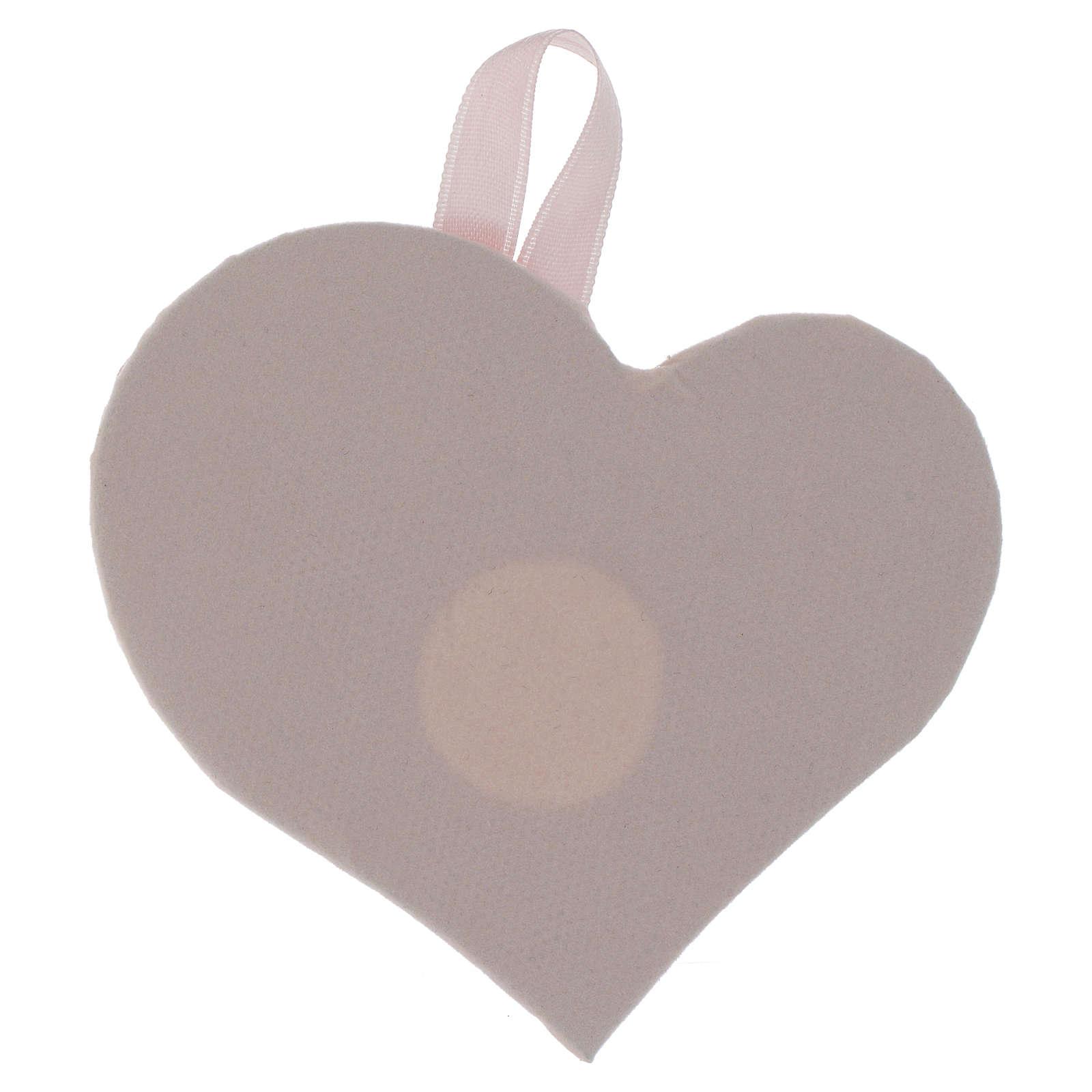 Obrazek nad kołyskę Serce płytka srebro z Aniołem Pozytywką różowy 4