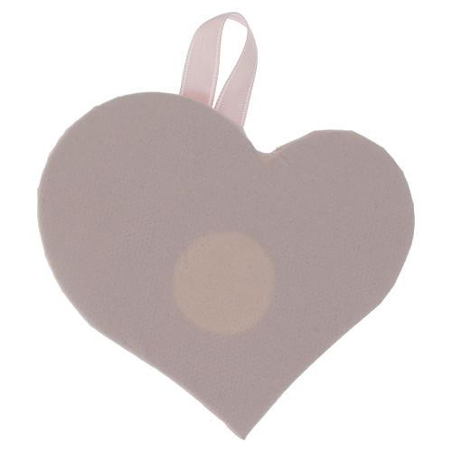 Obrazek nad kołyskę Serce płytka srebro z Aniołem Pozytywką różowy 2
