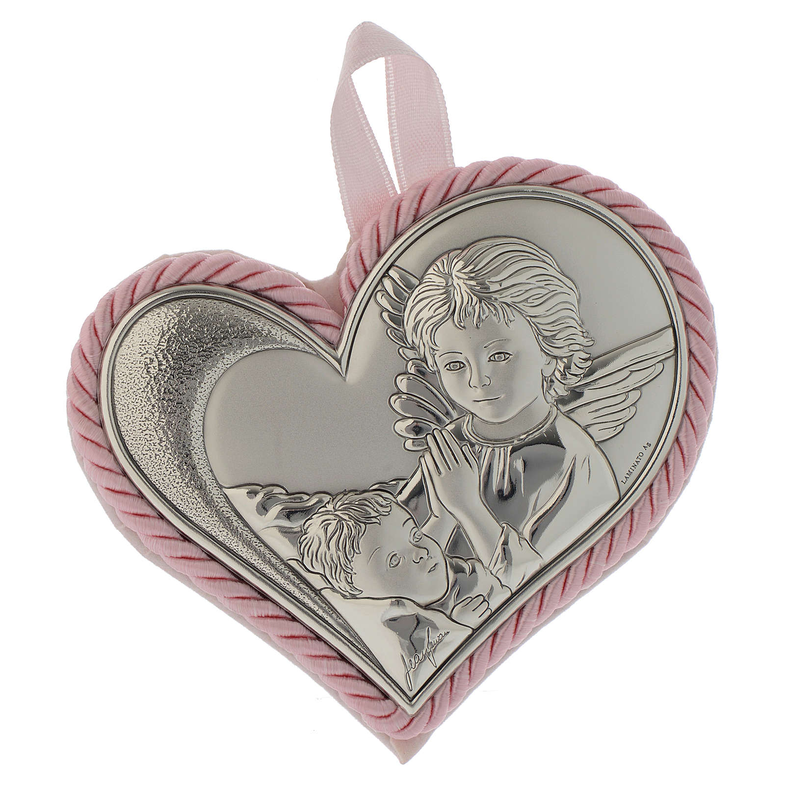 Guardian Angel crib toy with silver plate, heart and musical box, pink colour 4
