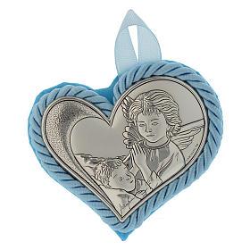 Medalhões e Medalhas para Berço: Medalhão para berço prata coração Anjo da guarda azul