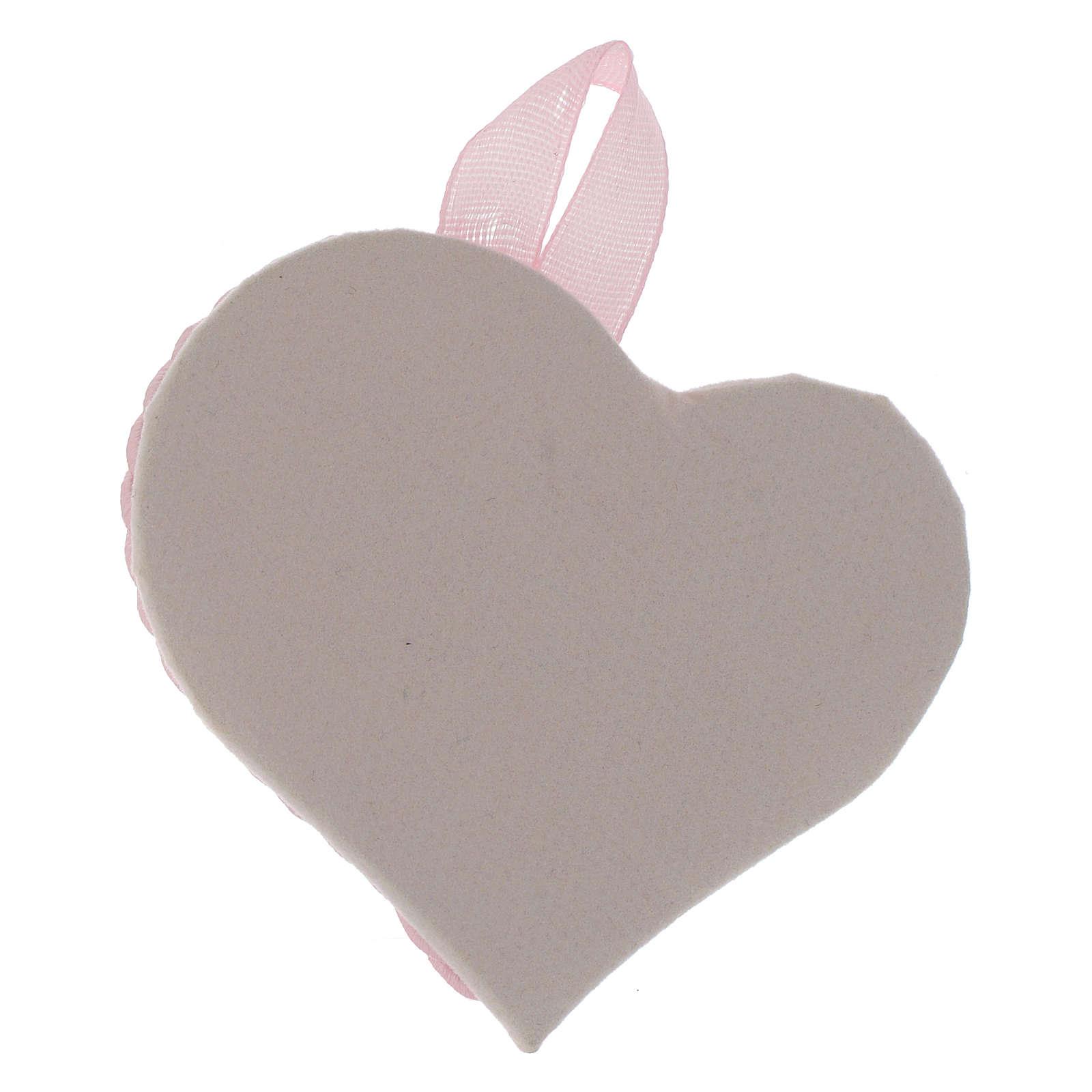 Obrazek nad kołyskę srebrny Serce Anioł Stróż różowy medalion 4