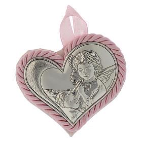 Obrazek nad kołyskę srebrny Serce Anioł Stróż różowy medalion s1