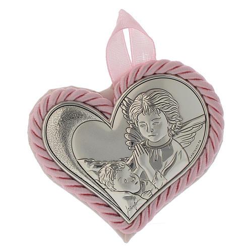 Obrazek nad kołyskę srebrny Serce Anioł Stróż różowy medalion 1