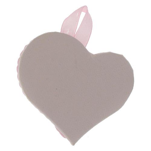 Obrazek nad kołyskę srebrny Serce Anioł Stróż różowy medalion 2