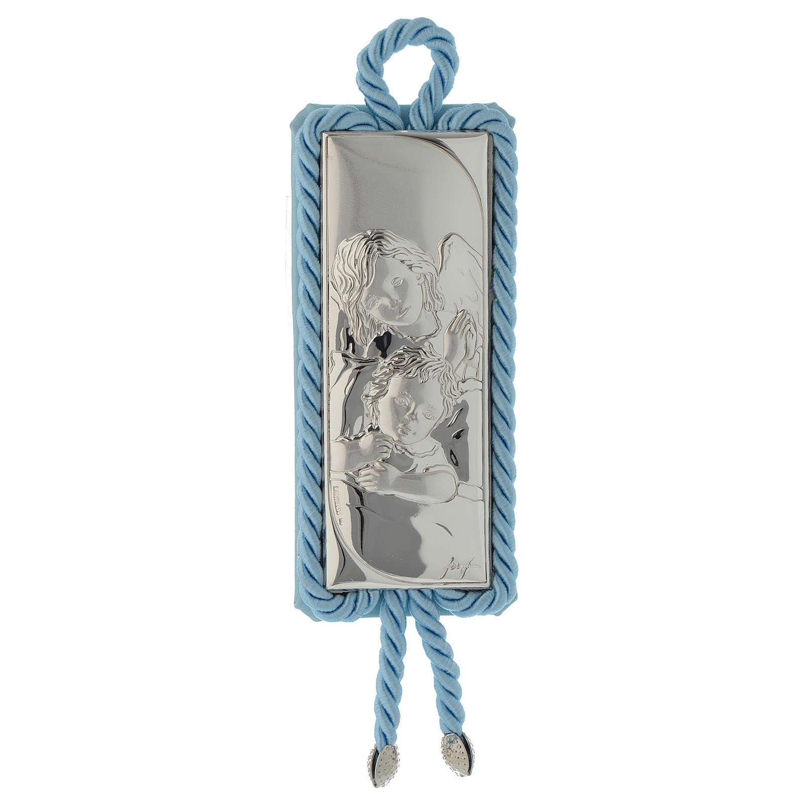 Sopraculla rettangolare Argento e stoffa Angioletto azzurro 4