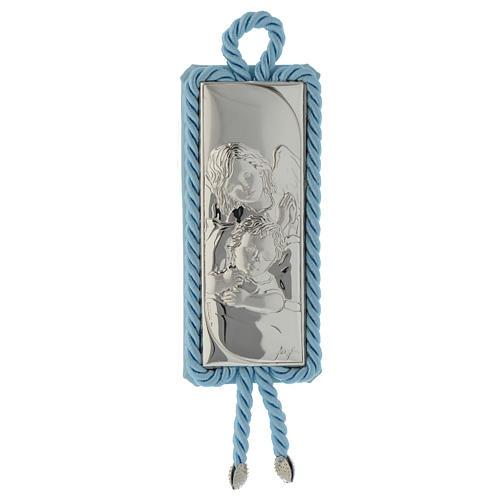 Sopraculla rettangolare Argento e stoffa Angioletto azzurro 1