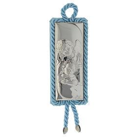 Medalhões e Medalhas para Berço: Medalha para berço rectangular prata e tecido Anjinho azul