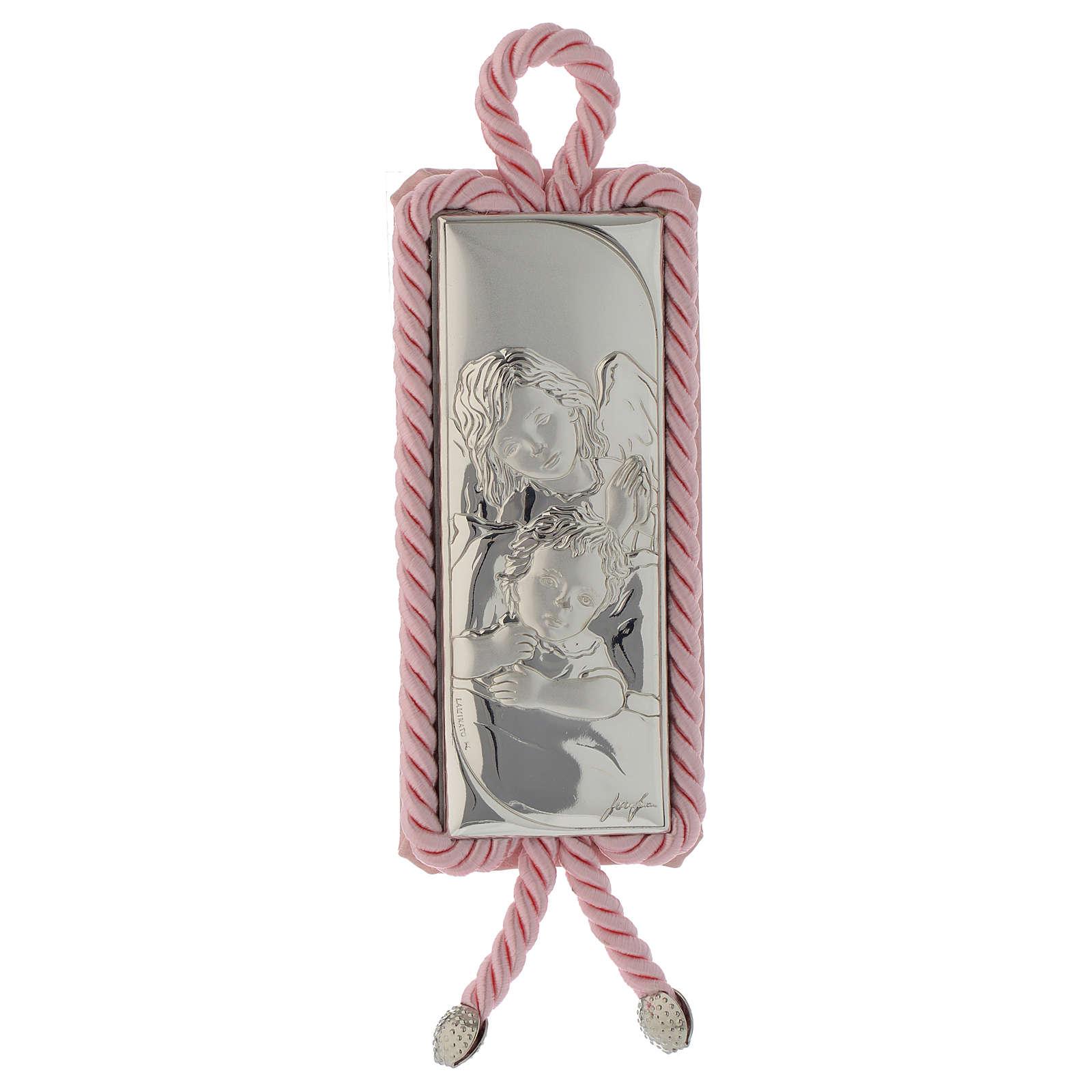 Capoculla rettangolare Argento e stoffa Angioletto rosa 4