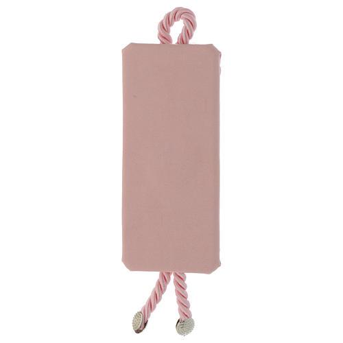 Capoculla rettangolare Argento e stoffa Angioletto rosa 2