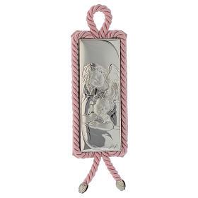 Medalhões e Medalhas para Berço: Medalha para berço rectangular prata e tecido Anjinho cor-de-rosa
