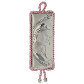 Medalhões e Medalhas para Berço: Medalhão Maternidade rectangular prata e tecido cor-de-rosa caixa de música