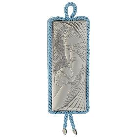 Medalhões e Medalhas para Berço: Medalhão Sagrada Família rectangular prata e tecido azul caixa de música