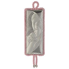 Medaglione S. Famiglia rettangolare Argento Carillon rosa s1