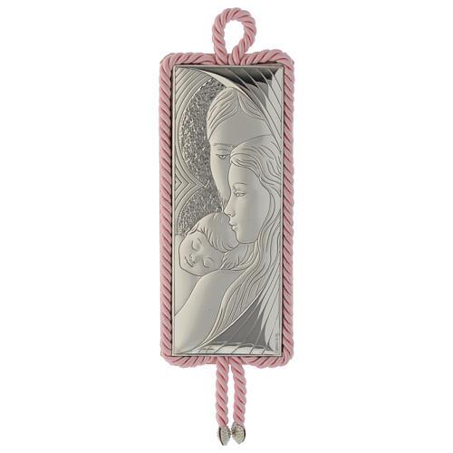 Medaglione S. Famiglia rettangolare Argento Carillon rosa 1