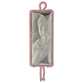 Holy Family medallion rectangular shape with musical box pink colour s1