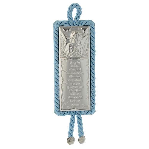 Capoculla Placca preghiera e Angelo con carillon, celeste 1
