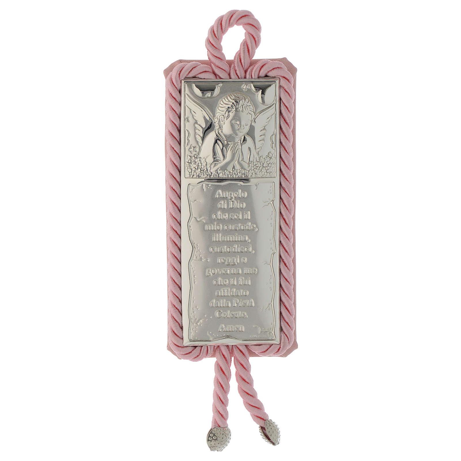Sopraculla rettangolare Placca preghiera e Angelo con carillon, rosa 4