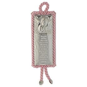 Medalhões e Medalhas para Berço: Medalha de berço placa oração e Anjo com caixa de música cor-de-rosa