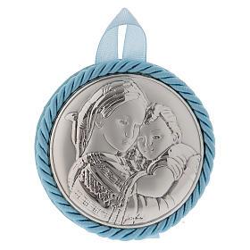 Médaille pour berceau bleue avec carillon Maternité s1