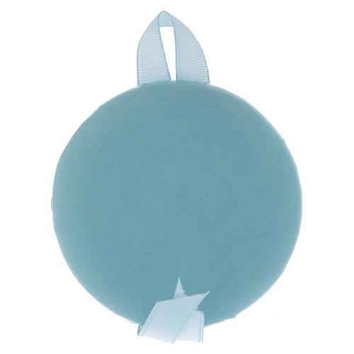 Médaille pour berceau bleue avec carillon Maternité 2