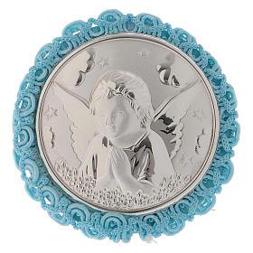 Medalhões e Medalhas para Berço: Medalha para berço azul com Anjo caixa de música