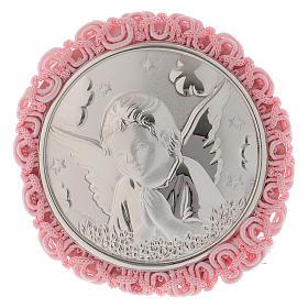Medalhões e Medalhas para Berço: Medalha para berço cor-de-rosa com Anjo caixa de música