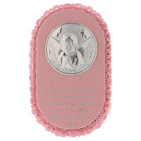 Medalhões e Medalhas para Berço: Medalha para berço oval com Anjo e oração caixa de música