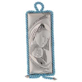 Medalhões e Medalhas para Berço: Medalha para berço com imagem Maternidade e caixa de música azul