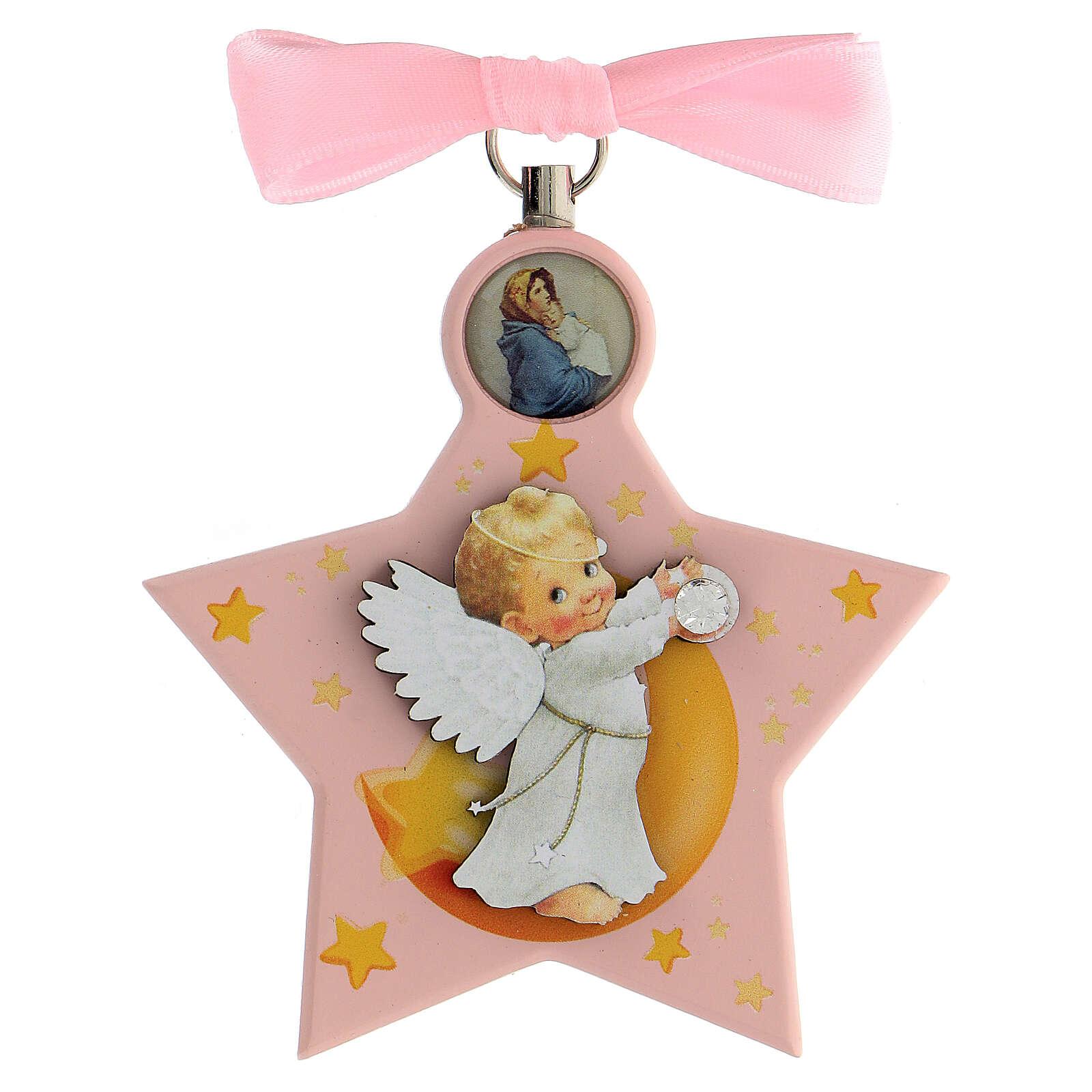 Médaille berceau étoile rose ange 4